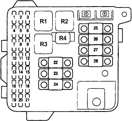 Схема блока предохранителей в моторном отсеке (1996-1998 гг.)