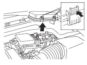 Расположение блока предохранителей в моторном отсеке (2007-2008)