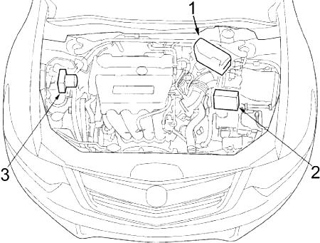Обзор моторного отсека (2,4 л (I4))