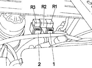 Предохранители в моторном отсеке (модель 2.4 V6)