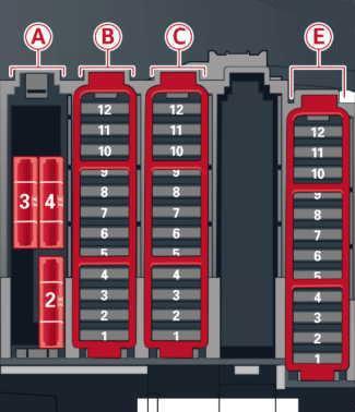 Схема блока предохранителей в багажном отделении