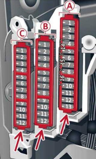 Панель предохранителей в кабине водителя