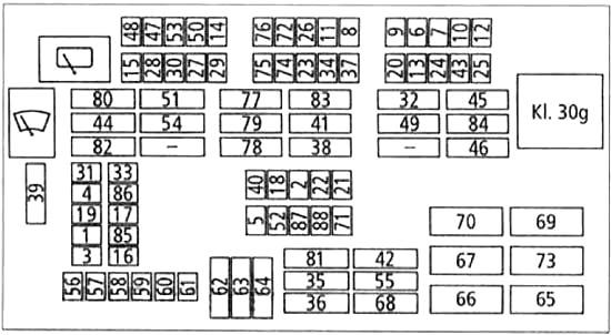 Блок предохранителей с 03.2007 по 09.2007