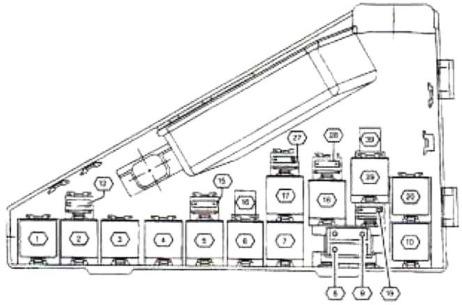 Центр реле в моторном отсеке (версия 1)