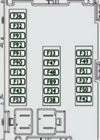 Схема блока предохранителей на приборной панели (версия 2)