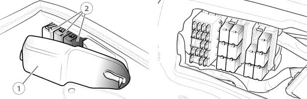 Предохранители и реле багажного отделения (расположение)