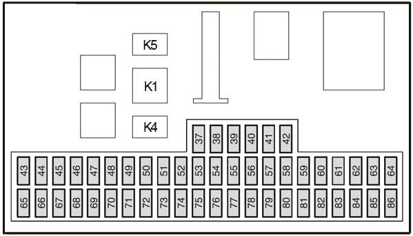 Схема блока предохранителей в салоне (2004-2007 гг.)