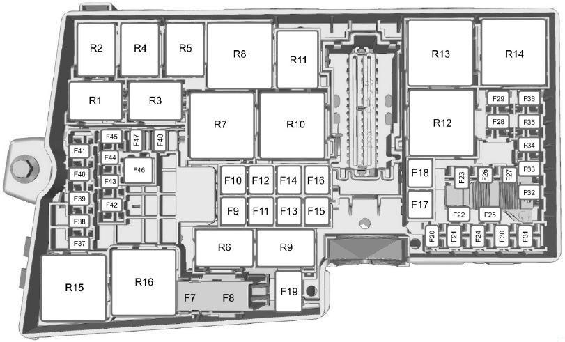 Схема блока предохранителей в моторном отсеке (ЕС)