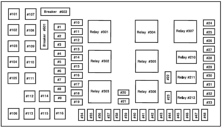 Ford Excursion (1999-2005) Fuse Diagram • FuseCheck.comFuse box diagrams, fuse layouts and fuse assignment for various cars