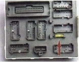Схема блока предохранителей в салоне (задняя сторона)