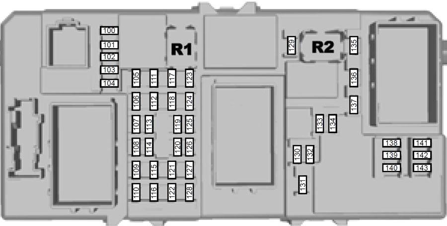 Схема блока предохранителей в салоне (2007-2010)