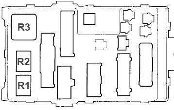 Схема блока предохранителей №1 (сзади)