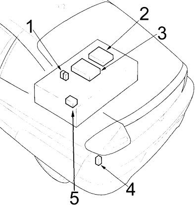 Расположение блока реле в багажном отделении