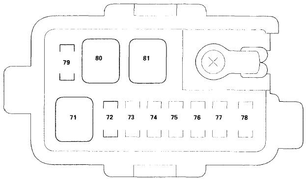 Схема блока предохранителей в моторном отсеке №2 (2003-2004 гг.)