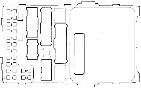 Схема блока предохранителей №1 в салоне.