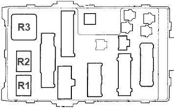 Схема блока предохранителей №1 в салоне (вид сзади)
