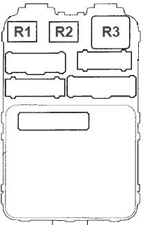 Схема блока предохранителей №2 в салоне (вид сзади)