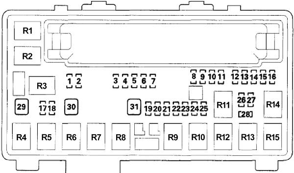 Схема блока предохранителей №1