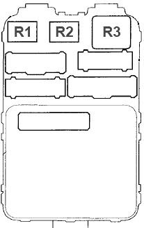 Схема блока предохранителей №2 в салоне (сзади)