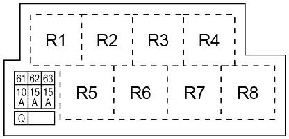 Схема блока предохранителей в моторном отсеке №4