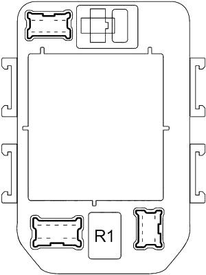 Схема блока предохранителей №1 в салоне (задняя сторона)