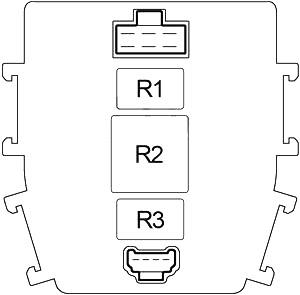 Схема блока предохранителей №2 в салоне (задняя сторона)