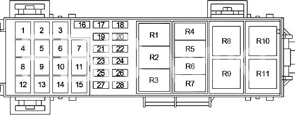 Схема блока предохранителей №2 в моторном отсеке (2006-2007 гг.)