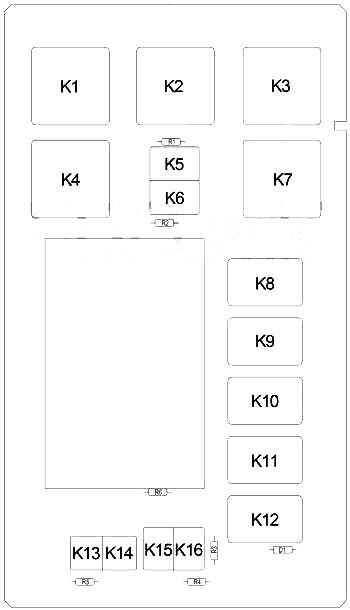 Схема блока предохранителей в салоне (сзади)