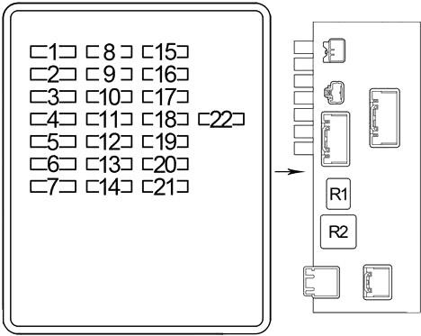 Схема блока предохранителей №1 в салоне (LHD)