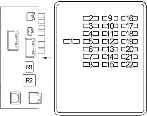 Схема блока предохранителей №2 в салоне (LHD)