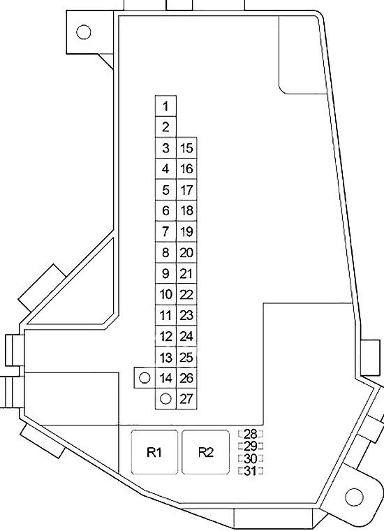 Схема блока предохранителей №1 в моторном отсеке (LHD)