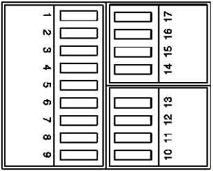Схема блока предохранителей в багажном отделении (на 01.12.94)