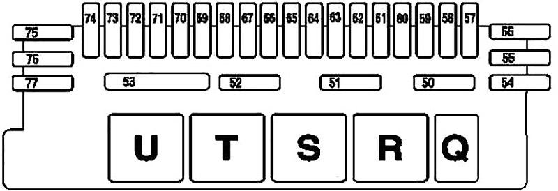 Схема блока предохранителей под правым задним сиденьем