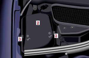 Расположение блока предохранителей в моторном отсеке (справа)