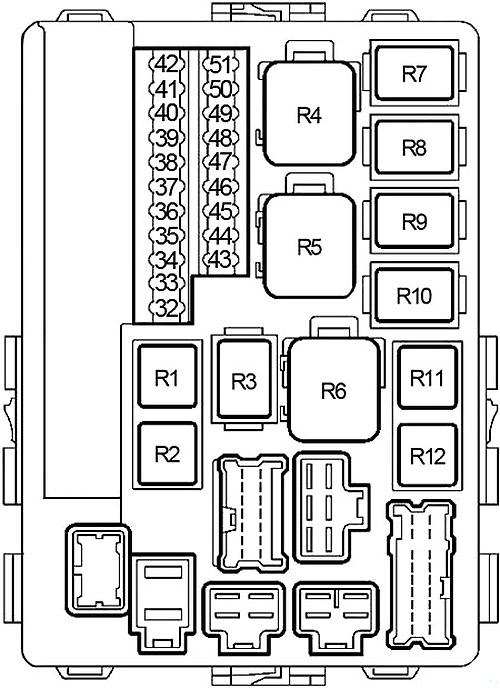 Схема блока предохранителей №1 в моторном отсеке (2001-2002 гг.)