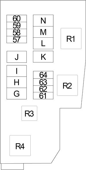 Схема блока предохранителей №2 в моторном отсеке