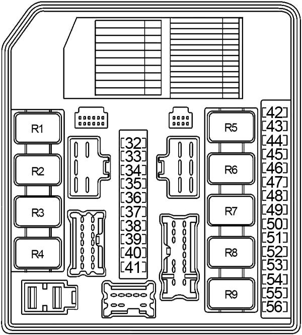 Схема блока предохранителей №1 в моторном отсеке (2004-2010 гг.)