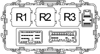 Схема блока предохранителей на приборной панели (задняя сторона)