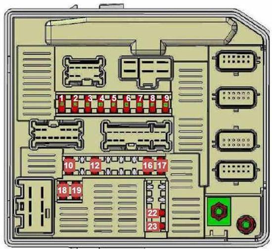 Схема блока предохранителей в моторном отсеке (тип 2)