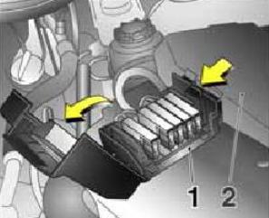 Расположение блока предохранителей №1 в моторном отсеке