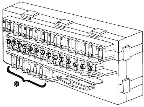 Схема блока предохранителей в салоне (тип 1)