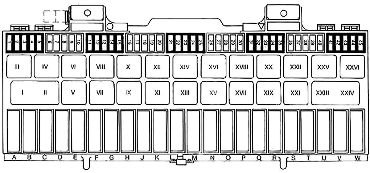 Схема блока предохранителей (1985-1989)