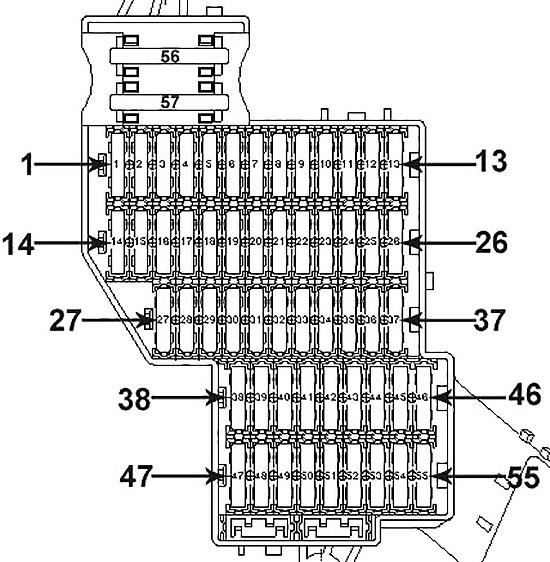 Схема блока предохранителей на правой панели приборов