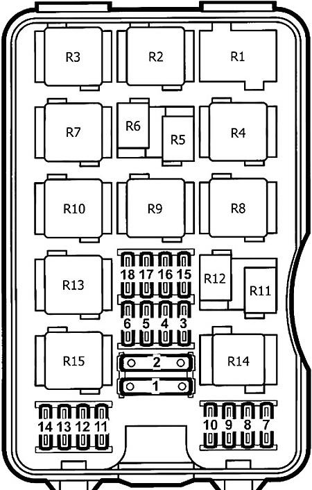 Схема блока предохранителей в моторном отсеке (1997-2001 гг.)