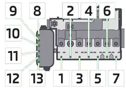 Engine Compartment Fuse Box Diagram (MT, DSG)