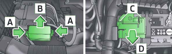 Engine Compartment Fuse Box Location (MT, DSG)