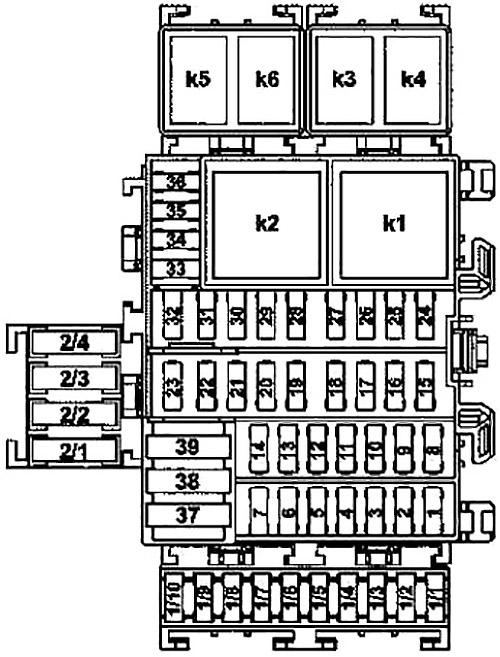 Блок предохранителей в бардачке (схема)