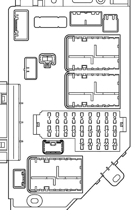 Схема блока предохранителей в левом пассажирском салоне