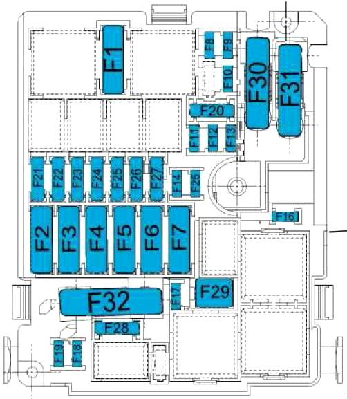 Схема блока предохранителей в моторном отсеке (ECO)