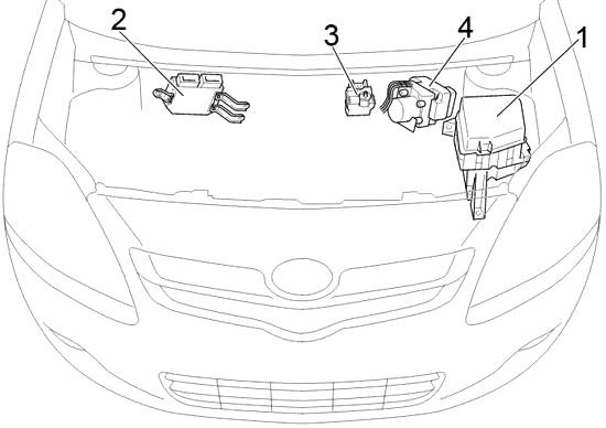 Отсек двигателя (Седан с левым рулем)